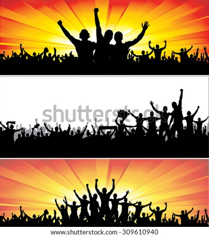 Advertising banners for sports championships and music concerts. - stock vector
