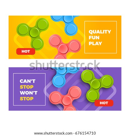 Advertising Banners Fidget Spinners Bright Colorful Stock Vector ...