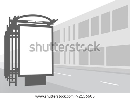 Advertising billboard at city bus stop. Black and white illustration. - stock vector
