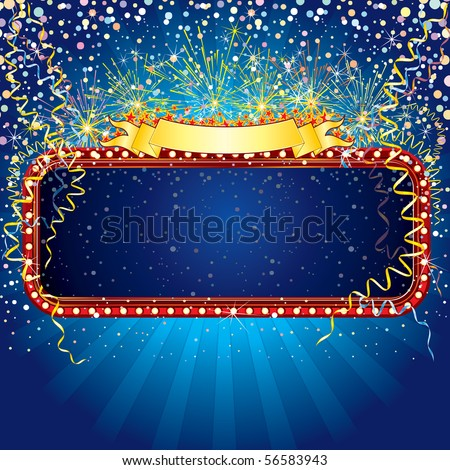 Advertising billboard with fireworks and confetti. Ready for celebrating and entertainment text or design.-MORE SIMILAR BACKGROUNDS SEE AT MY GALLERY - stock vector
