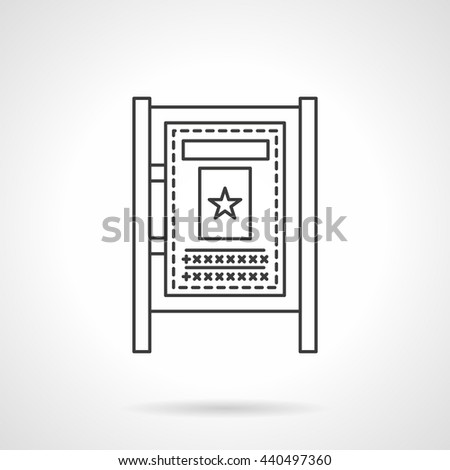Advertising board. City outdoor advertisement, announcements and information on streets and transport stations. Flat line style vector icon - stock vector