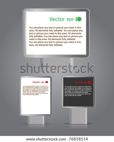 Advertising boards different formats. Place your text on them - stock vector