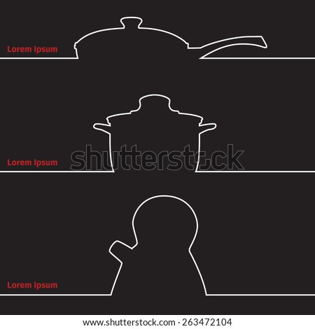 Advertising card with saucepan and kettle silhouette, vector illustration - stock vector