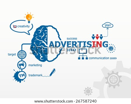 Advertising concept. Brain and icons in flat style - stock vector