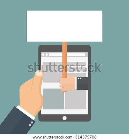 Advertising concept. hand holding a signboard on the display of a tablet, held by a hand. Flat style