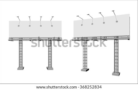 Advertising construction for outdoor advertising big billboard on support from truss. Billboard for your design. - stock vector