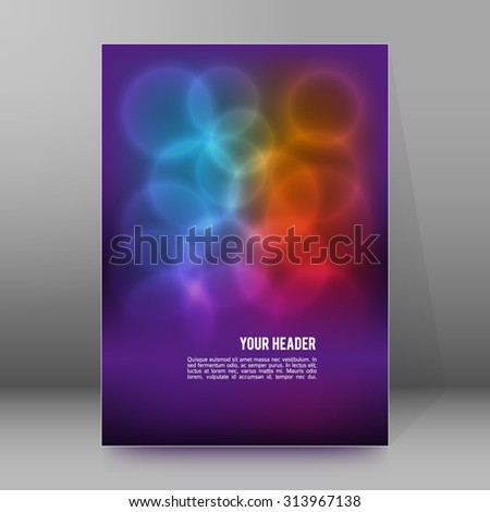 Advertising flyer party design elements. Purple background with elegant graphic blur bright light circles. Vector illustration EPS 10 for template brochure, layout leaflet, cafe menu card - stock vector