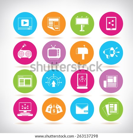 advertising icons, marketing icons set - stock vector