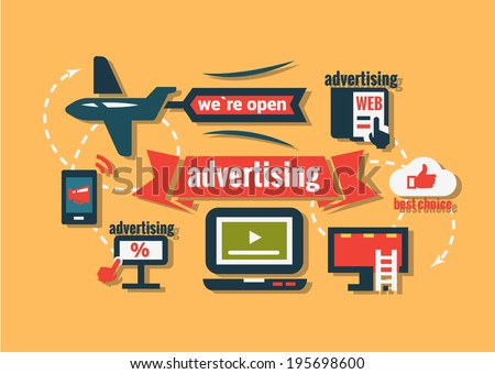 Advertising Icons Set in Flat Design Style. - stock vector