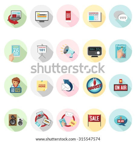 Advertising icons set in flat design with long shadow. Illustration EPS10 - stock vector