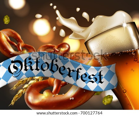 Advertising of the traditional Oktoberfest beer festival with a glass of beer and pretzels. Highly realistic illustration.