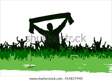 Advertising poster of people cheering - stock vector
