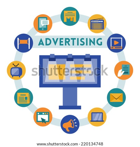 Advertising related vector infographic, flat style - stock vector