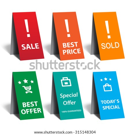 Advertising   set - special offer, sale, sold and best price - stock vector
