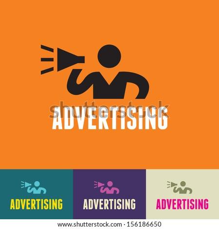 Advertising Sign - Vector Human Symbol - Social Media Icon - Vector Logo Template. Human logo. Human icon. Human character illustration. Design element.   - stock vector