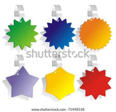 advertising wobbler different figured shapes - stock vector