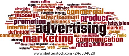 Advertising word cloud concept. Vector illustration - stock vector