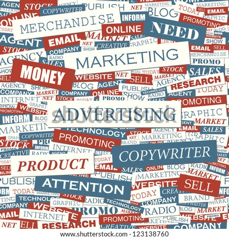 ADVERTISING. Wordcloud illustration.