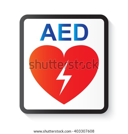 AED (Automated External Defibrillator), heart and thunderbolt (image for basic life support and advanced cardiac life support)