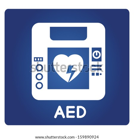 AED symbol, automated external defibrillator - stock vector