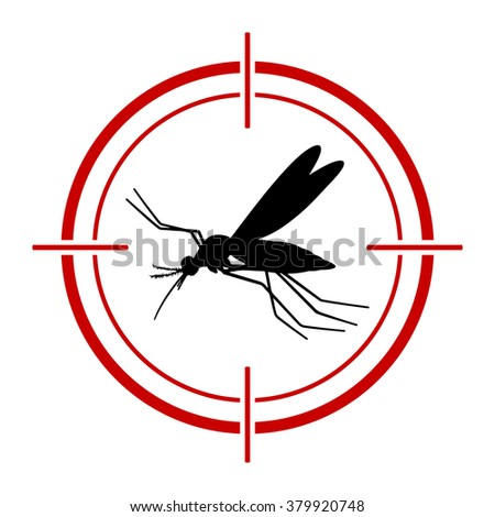 Aedes Aegypti mosquito with red target. Vector aedes aegypti flying mosquito. Vector mosquito. Aegypti mosquito with target. Aegypti mosquito silhouette. - stock vector