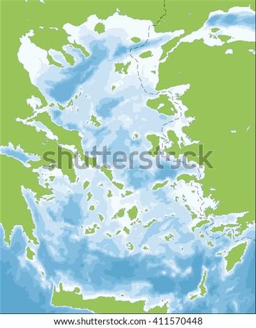 Aegean Sea map - stock vector