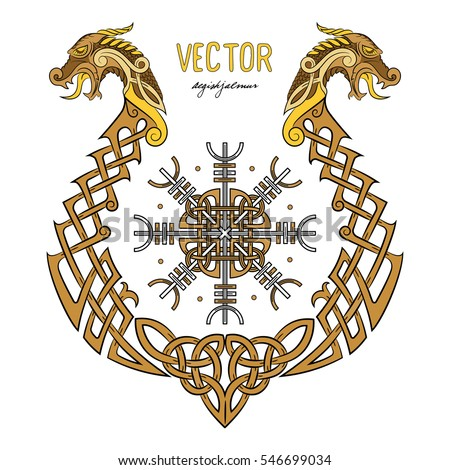 Viking design magical runic compass vegvisir stock vector for Helm design