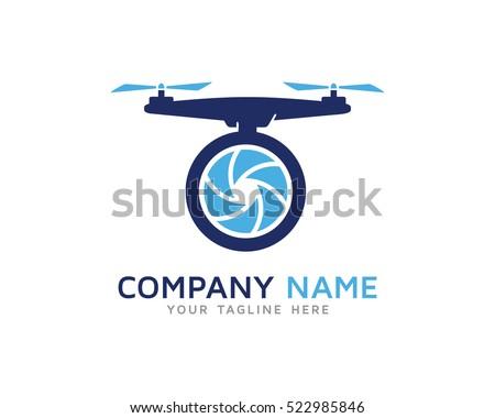 Aerial Drone Logo Design Template