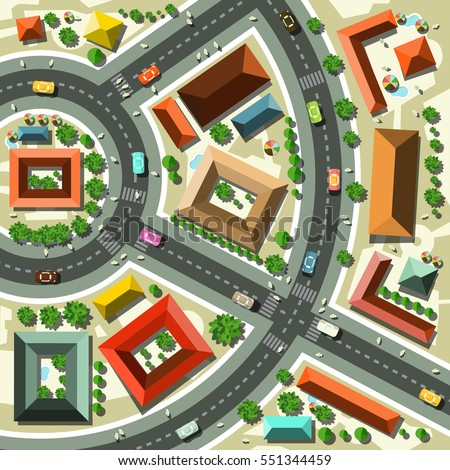 Aerial top view flat design vector stock vector 551344459 for Top view design
