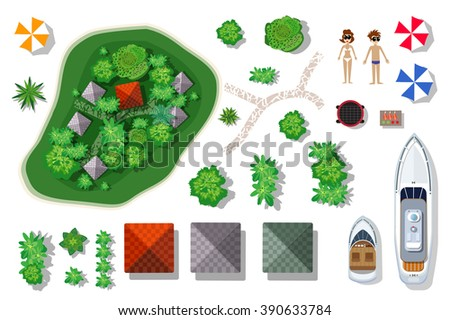 Aerial top view of an island paradise. Set of elements for the designer and artist.