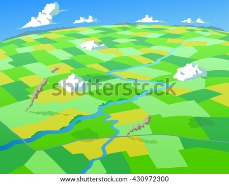 Aerial view of fields and farms, on a bright summer day - stock vector