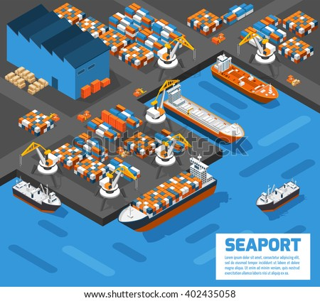 Aerial view of harbor waterfront and maritime terminal with container ship loading isometric poster abstract vector illustration  - stock vector