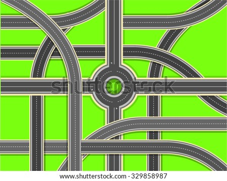 Aerial View - Top View Roads Intersections, Highways