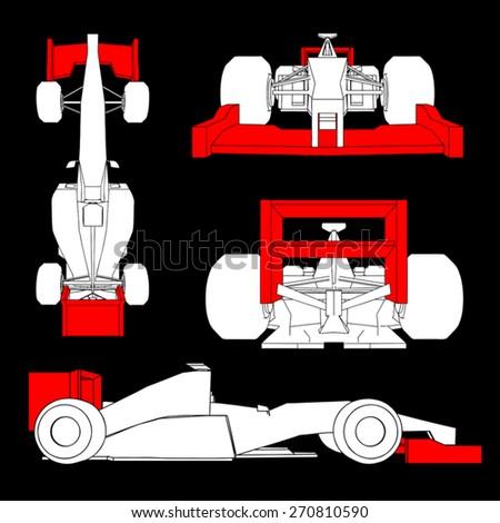 aerodynamics racing car - stock vector