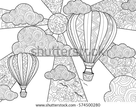 Aeronautic Balloon Coloring Book For Adults Vector Illustration Anti Stress Adult