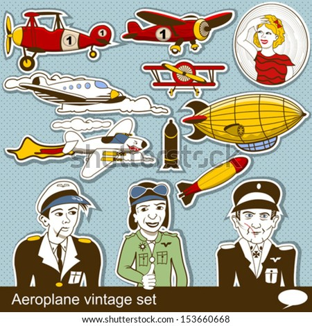 aeropalane vintage set - stock vector