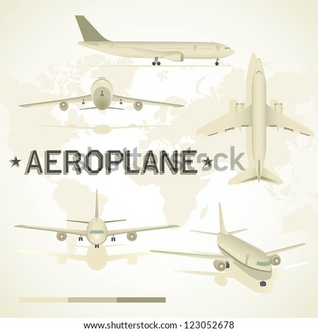Aeroplane in different positions. Top view, flying, take off, front view, side view. - stock vector