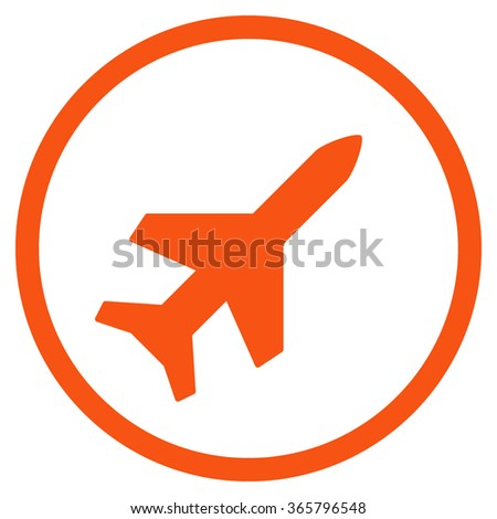 Aeroplane vector icon. Style is flat circled symbol, orange color, rounded angles, white background.