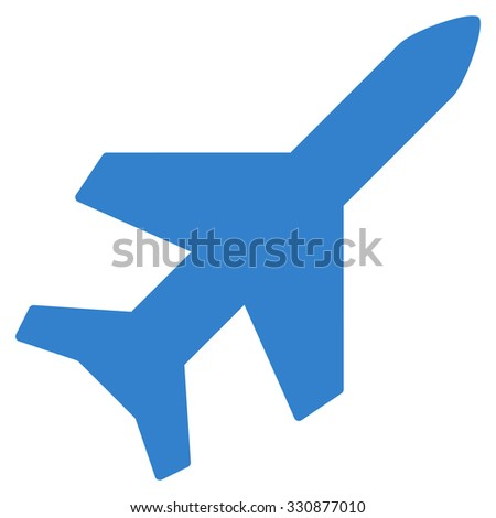 Aeroplane vector icon. Style is flat cobalt symbol, rounded angles, white background.