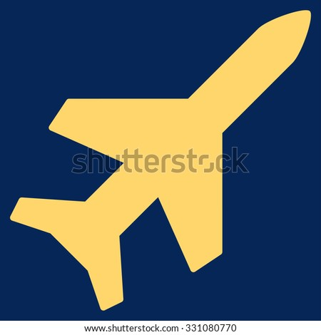 Aeroplane vector icon. Style is flat yellow symbol, rounded angles, blue background.