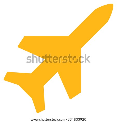 Aeroplane vector icon. Style is flat yellow symbol, rounded angles, white background.