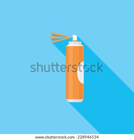 Aerosol paint  flat icon. Modern flat icons with long shadow effect in stylish colors. Icons for Web and Mobile Application. EPS 10. - stock vector
