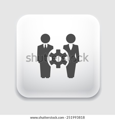 Affiliate marketing. Man and woman symbolize symbolize the two companies. Gear symbol of cooperation between them. - stock vector
