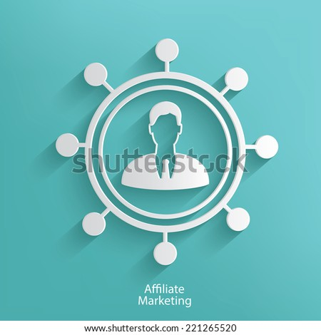 Affiliate marketing symbol on blue background,clean vector - stock vector