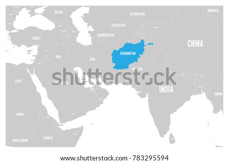 Afghan map stock images royalty free images vectors shutterstock afghanistan blue marked in political map of south asia and middle east simple flat vector gumiabroncs Image collections