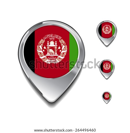 Afghanistan flag map pointer. 3d Map Pointer with flag glossy button style on gray background - stock vector