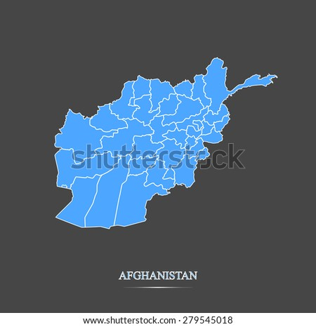 Afghanistan map outlines in highlighted grey background, vector map of Afghanistan in contrasted design for brochure template, tourist map, advertisement, web page design, science and education uses - stock vector