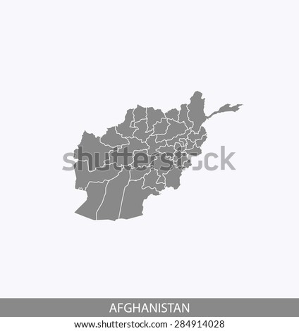 Afghanistan map vector, Afghanistan map outlines in contrasted grey background for brochure design and science and publication uses - stock vector