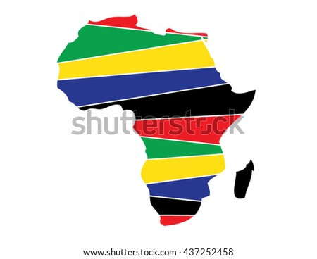 Africa, African, Continent, Land, African American, Vector, Africa Flag, Yellow, Green, Red, Blue, Symbol, Abstract Africa, Land, Earth, Country, Countries - stock vector