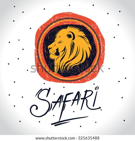 Africa and Safari logo with the lion - stock vector